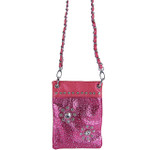 HOT PINK METALLIC  RHINESTONES FLOWER MINI MESSENGER BAG MB2-1214HPK
