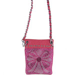 HOT PINK METALLIC  RHINESTONE CROSS MINI MESSENGER BAG MB2-0415HPK