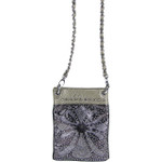 GRAY METALLIC  RHINESTONE CROSS MINI MESSENGER BAG MB2-0415GRY