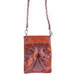RED METALLIC  RHINESTONE CROSS MINI MESSENGER BAG MB2-0415RED