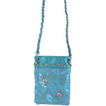 TURQUOISE METALLIC  RHINESTONES FLOWER MINI MESSENGER BAG MB2-1214TRQ