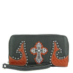 BLACK WESTERN STUDDED TOOLED CROSS LOOK ZIPPER WALLET CB3-0401BLK