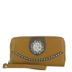 LIGHT BROWN WESTERN STUDDED RHINESTONE FLOWER LOOK ZIPPER WALLET CB3-1207LBRN