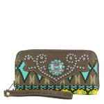 BROWN TRIBAL BLUE STONE LOOK ZIPPER WALLET CB3-1206BRN