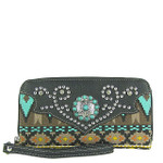 BLACK TRIBAL BLUE STONE LOOK ZIPPER WALLET CB3-1206BLK