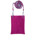 HOT PINK COLORED STUDS MINI MESSENGER BAG MB2-1215HPK