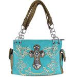 TURQUOISE STUDDED RHINESTONE CROSS LOOK SHOULDER HANDBAG HB1-60LCR-ATRQ
