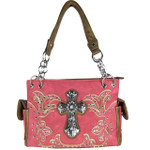 HOT PINK STUDDED RHINESTONE CROSS LOOK SHOULDER HANDBAG HB1-60LCR-AHPK