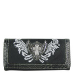 BLACK CROSS WITH WINGS LOOK CLUTCH TRIFOLD WALLET CB5-0400BLK