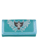 TURQUOISE CROSS WITH WINGS LOOK CLUTCH TRIFOLD WALLET CB5-0400TRQ