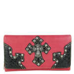 HOT PINK RHINESTONE STUDDED CROSS LOOK CHECKBOOK WALLET CB1-0452HPK
