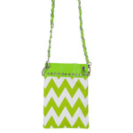 GREEN CHEVRON MINI MESSENGER BAG MB2-1218GRN