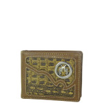 BROWN CROCODILE PISTOL MENS WALLET MW1-0445BRN