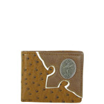 BROWN OSTRICH CROSS MENS WALLET MW1-0449BRN