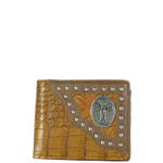BROWN STUDDED CROCODILE CROSS MENS WALLET MW1-0450BRN