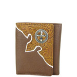 BROWN TOOLED LEATHERETTE CROSS MENS TRIFOLD WALLET MW3-0401BRN
