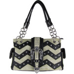 BLACK RHINESTONE CHEVRON BUCKLE LOOK SHOULDER HANDBAG HB1-939WVBLK