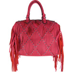 HOT PINK STUDDED RUFFLE LOOK SHOULDER HANDBAG HB1-CAB-8812HPK
