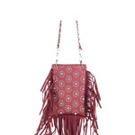 RED FLOWER STUDDED CHEVRON MINI MESSENGER BAG MB2-1224RED