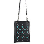 BLACK STUDDED BLUE STONE MINI MESSENGER BAG MB2-0416BLK