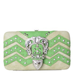 GREEN CHEVRON RHINESTONE BUCKLE LOOK FLAT THICK WALLET FW2-12113GRN