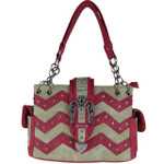 HOT PINK RHINESTONE CHEVRON BUCKLE LOOK SHOULDER HANDBAG HB1-939WVHPK
