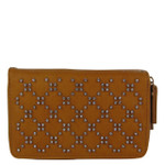 BROWN STUDDED RHINESTONE LOOK FASHION WALLET FW1-0200BRN