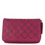 HOT PINK STUDDED RHINESTONE LOOK FASHION WALLET FW1-0200HPK