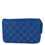 BLUE STUDDED RHINESTONE LOOK FASHION WALLET FW1-0200BLU