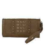 TAN STUDDED RHINESTONE RINGS LOOK FASHION WALLET FW1-0201TAN