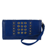 BLUE STUDDED RHINESTONE RINGS LOOK FASHION WALLET FW1-0201BLU