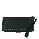 GREEN STUDDED LOOK FASHION WALLET FW1-0202GRN