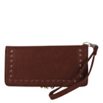 BROWN STUDDED LOOK FASHION WALLET FW1-0202BRN