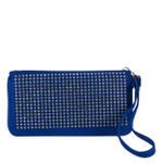 BLUE STUDDED RHINESTONE LOOK FASHION WALLET FW1-0205BLU