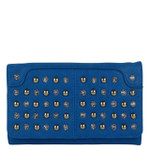 BLUE STUDDED RHINESTONE LOOK FASHION WALLET FW1-0206BLU