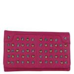 HOT PINK STUDDED RHINESTONE LOOK FASHION WALLET FW1-0206HPK