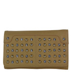 TAN STUDDED RHINESTONE LOOK FASHION WALLET FW1-0206TAN