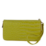 YELLOW PLAIN CROCODILE LOOK FASHION WALLET FW1-0208YLW