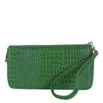 GREEN PLAIN CROCODILE LOOK FASHION WALLET FW1-0208GRN