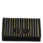 BLACK STRIPED LOOK FASHION WALLET FW1-0209BLK
