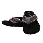 BLACK TRIBAL RHINESTONE CROSS FASHION FLIP FLOP FF1-WC1-E-BLK