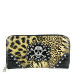 BROWN STUDDED LEOPARD SKULL LOOK ZIPPER WALLET CB3-1203BRN