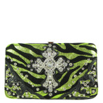 GREEN STUDDED RHINESTONE ZEBRA CROSS LOOK FLAT THICK WALLET FW2-04126GRN