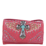 HOT PINK WESTERN CROSS WITH WINGS LOOK CLUTCH TRIFOLD WALLET CW1-1278HPK