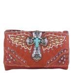 RED WESTERN CROSS WITH WINGS LOOK CLUTCH TRIFOLD WALLET CW1-1278RED