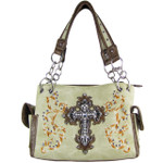 BEIGE RHINESTONE CROSS LOOK SHOULDER HANDBAG HB1-64LCRBEI