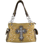 BROWN RHINESTONE CROSS LOOK SHOULDER HANDBAG HB1-64LCRBRN