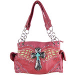 HOT PINK WESTERN CROSS WITH WINGS LOOK SHOULDER HANDBAG HB1-52LCRHPK