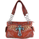 RED WESTERN CROSS WITH WINGS LOOK SHOULDER HANDBAG HB1-52LCRRED