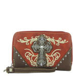 RED WESTERN RHINESTONE CROSS LOOK ZIPPER WALLET CB3-0403RED
